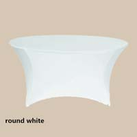 120 Round White Economic Spandex Table Cover