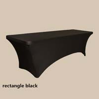 8ft Rectangle Black Economic Spandex Table Cover