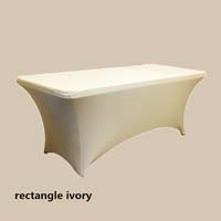 8ft Rectangle Ivory Economic Spandex Table Cover