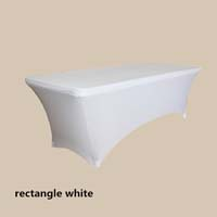 8ft Rectangle White Economic Spandex Table Cover