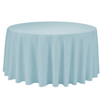 Baby Blue 108 Round Economic Visa Polyester Style Tablecloths