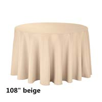 Beige 108 Round Economic Visa Polyester Style Tablecloths