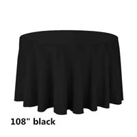 Black 108 Round Economic Visa Polyester Style Tablecloths