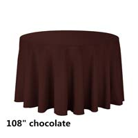Chocolate 108 Round Economic Visa Polyester Style Tablecloths