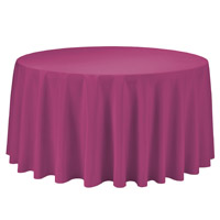 Fuchsia 108 Round Economic Visa Polyester Style Tablecloths