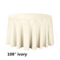 Ivory 108 Round Economic Visa Polyester Style Tablecloths