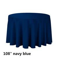 Navy Blue 108 Round Economic Visa Polyester Style Tablecloths