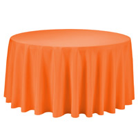 Orange 108 Round Economic Visa Polyester Style Tablecloths