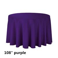 Purple 108 Round Economic Visa Polyester Style Tablecloths