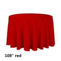 Red 108 Round Economic Visa Polyester Style Tablecloths