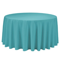 Turquoise 108 Round Economic Visa Polyester Style Tablecloths