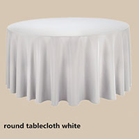 White 108 Round Economic Visa Polyester Style Tablecloths