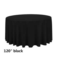 Black 120 Round Economic Visa Polyester Style Tablecloths