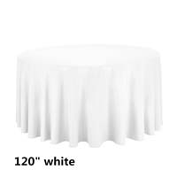 White 120 Round Economic Visa Polyester Style Tablecloths