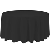 Black 132 Round Economic Visa Polyester Style Tablecloths