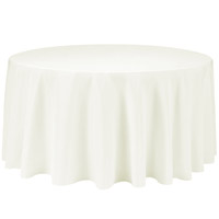 Ivory 132 Round Economic Visa Polyester Style Tablecloths