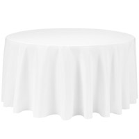 White 132 Round Economic Visa Polyester Style Tablecloths