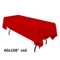 Red  60X108 Economic Visa Polyester Style Tablecloths