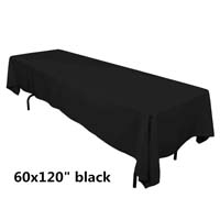 Black 60X120 Economic Visa Polyester Style Tablecloths