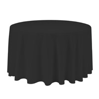 Black 90 Round Economic Visa Polyester Style Tablecloths