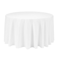 White 90 Round Economic Visa Polyester Style Tablecloths