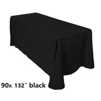 90x132 Black Economic Visa Polyester Style Table Drapes