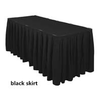 Black Economic Visa Polyester Style Table Skirts